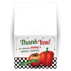 Retro Italian kitchen themed bridal shower thank you card featuring red tomato and pepper