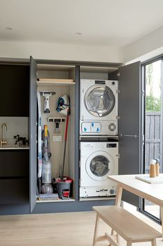 Boot Room Utility, Small Utility Room, Utility Room Storage, Utility Room Designs, Laundry Room Organization, Laundry Storage, Utility Room Ideas, Ironing Board Storage, Hidden Laundry