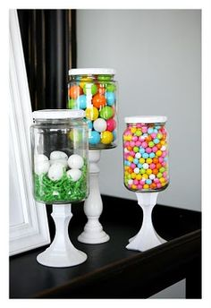 candlestick, pickle jar with lid, E6000 glue....add eggs/grass for Easter, flag for July 4th, green shamrocks...hearts...