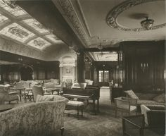 Interior of the Lusitania, 1905-1907 -   First class lounge and music room