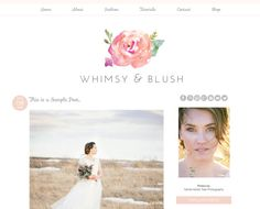 FREE INSTALL-Blogger Template - Whimsy and Blush - Peach and Light Grey Design, Clean and Fresh, Watercolor Images, Whimsical blog design