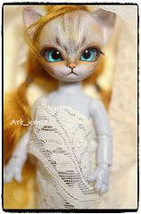 kitty (Art_emis) Tags: blue light eye glass girl cat gold grey eyes doll hand open skin handmade ooak painted mohair bjd custom nano tone freya 12cm hujoo