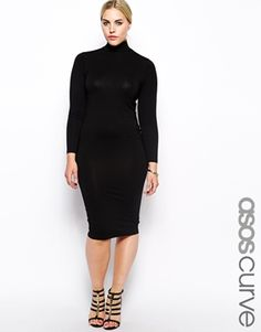 ASOS CURVE Exclusive Bodycon Dress With Funnel Neck in Longer Length