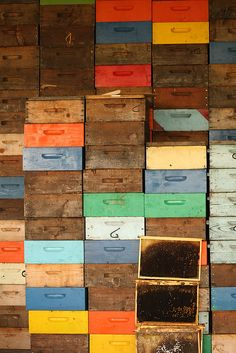 bee boxes photographed by sc-jurgen (found via Flickr)