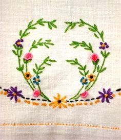 Floral Vintage Hand Embroidered Towel | Marys Cottage Treasures