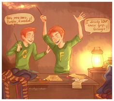 Love this imagined scene of Fred and George reacting to the Marauders Map by Viria (http://viria13.deviantart.com/gallery/).