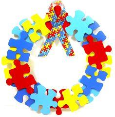 Puzzle Piece Wreath - Autism Awareness