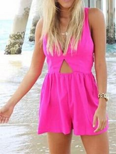Shop Hot Pink V-neck Peach Cut Out Back Cross Romper Playsuit from choies.com .Free shipping Worldwide.$25.99