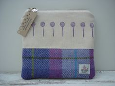 Tartan Harris Tweed & Cotton Handmade Makeup Cosmetic Bag Purse, Ladies Scottish Gift, Purple Flowers