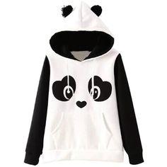 Jubileens Women's Cute Panda Print White and Black Fleece Hoodie Tops... ($17) ❤ liked on Polyvore featuring tops, hoodies, sweatshirt, fleece hoodie pullover, hoodie pullover, hoodies pullover, print hoodie and sweater pullover