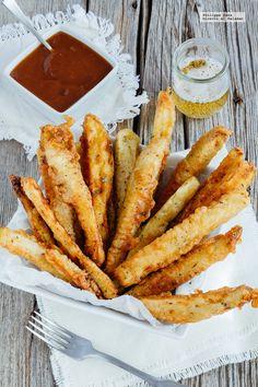 Palillos de berenjena en salsa agridulce. Receta con fotografías del paso a paso y recomendaciones de degustación. Recetas de botanas