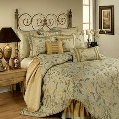 sage taupe comforter sets queen | Queen Savoy Sage and Taupe Floral 4 Piece Comforter Set by Austin Horn ...