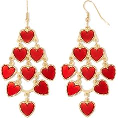 Gold-Tone Red Heart Chandelier Earrings ($9.99) ❤ liked on Polyvore featuring jewelry, earrings, red, long earrings, red chandelier earrings, red heart earrings, gold tone earrings and earrings jewelry