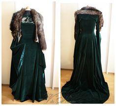 Sansa Stark Season 6 Direwolf Velvet Gown Costume Dress