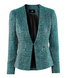H green tweed blazer Tweed Blazer, Blazer Jacket, Style Blazer, Chanel Jacket, Professional Outfits, Business Attire, Work Attire, Mode Style, African Fashion