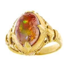 Antique Peranakan Opal Set Gold Ring | From a unique collection of vintage fashion rings at https://www.1stdibs.com/jewelry/rings/fashion-rings/ #ChineseGoldJewellery