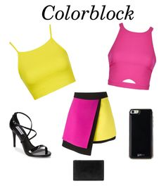 """Colorblock yellow and pink"" by swaggysoccer102 on Polyvore featuring Topshop, FAUSTO PUGLISI, Steve Madden, Whistles, Gooey and Ally Fashion"