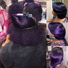 |TRANSFORMATION TUESDAY| In love with this #violet hair color and #silkpress styled by #ATLStylist @Iamsheenarenee Beautiful shineShe used #PravanaVivids purple to achieve this color #voiceofhair ========================= Go to VoiceOfHair.com ========================= Find hairstyles and hair tips! =========================