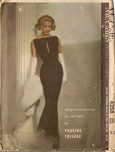 McCalls 4258 - Vintage Sewing Pattern - Pauline Trigere - Size 14 - Bust 34 - Misses' Evening Formal Gown Dress Vintage Outfits, Vintage Dresses, Vintage Fashion, Classic Fashion, Vintage Beauty, Vintage Clothing, Classic Style, Mccalls Patterns, Vintage Sewing Patterns