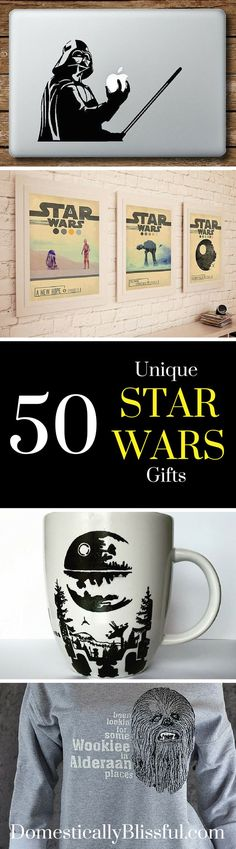 50 Unique Star Wars Gifts any Star Wars fan will love! So many great gift ideas!!