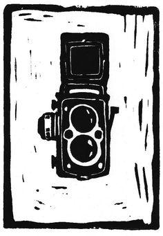 Rolleiflex Camera Linocut Print