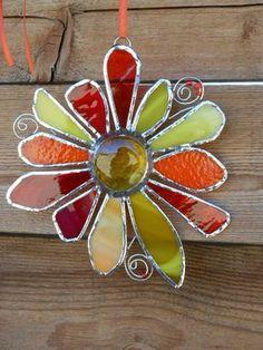 Stained Glass FlowerOrangeYellowRedSuncatcher by DesertGirlGlass