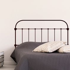 Industrial Iron Headboard Wall Decal Sticker by SirFaceGraphics Small Master Bedroom, Master Bedroom Design, Bedroom Wall, Bedroom Decor, Small Bedrooms, Bedroom Ideas, Headboard Decal, Iron Headboard, Industrial Irons