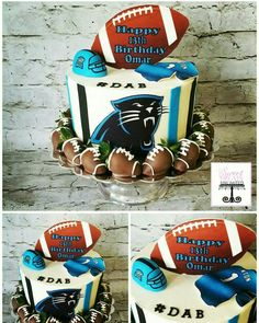 Carolina Panthers Birthday Cake with Chocolate Covered Strawberry Footballs