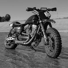 One more: XR1200 Sportster by @beard.wrench. One bad H-D. #harley #sportster #xr1200 #tracker #streettracker #scrambler #dirtbike #dualsport #custombike #builtnotbought