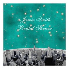 Etched NYC Skyline 2 Teal Gold Star Bridal Shower Invitation