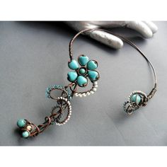 Turquoise flower, copper wire, necklace, Wire wrapped necklace,... ($69) ❤ liked on Polyvore featuring jewelry, necklaces, turquoise collar necklace, turquoise choker necklace, green turquoise necklace, wire choker and collar necklace