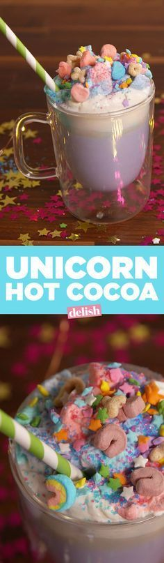 Hot Chocolate Unicorn Hot Cocoa is pure proof that magic really exists. Get the recipe from .Unicorn Hot Cocoa is pure proof that magic really exists. Get the recipe from . Yummy Treats, Delicious Desserts, Sweet Treats, Dessert Recipes, Yummy Food, Frozen Drink Recipes, Sweet Desserts, Comida Diy, Milk Shakes
