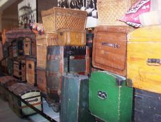 Ellis Island.  Trunks donated by the descendants of immigrants who passed through the processing station.  They held all of the possessions of those brave souls!