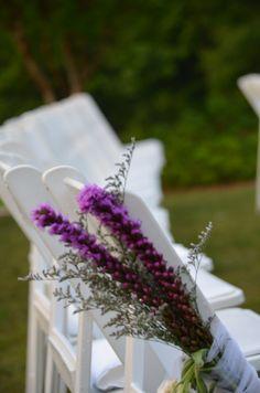 Purple liatris aisle flowers