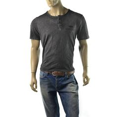 Buffalo David Bitton Henley T Shirt Mens Narah Slub Jersey Size L Shirts NEW #BuffaloDavidBitton #Henley