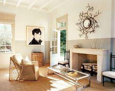 cheminée moderne en pierre - idée de déco de salon design contemporain