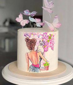 Beautiful Cake Pictures, Beautiful Cake Designs, Beautiful Cakes, Cake Hacks, Blueberry Cake, Girl Cakes, Buttercream Cake, Cakes And More, Cake Art