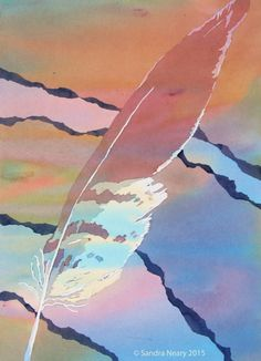 """""""Desert Feather"""" 14"""" X 11"""" poured acrylic on paper © Sandra Neary 2015"""