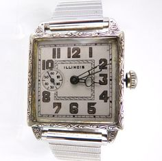Art Deco Illinois Wrist Watch Off Set Seconds at 9 14k White Gold Filled