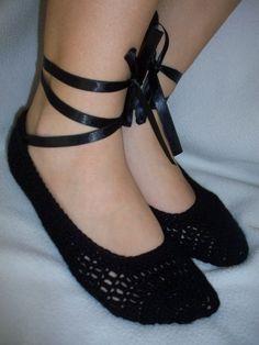 Black Booties Crochet Slippers