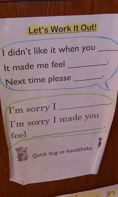 Simple and concise sentence frames to help 2nd graders with conflict resolution.