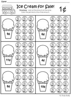 Money worksheets for preschool and kindergarten including matching coins to their names, matching coins to their values, identifying coins and counting coins. School Worksheets, Kindergarten Worksheets, Counting Money Worksheets, Rhyming Worksheet, Teaching Money, Teaching Math, Teaching Geography, Homeschool Kindergarten, Preschool Learning