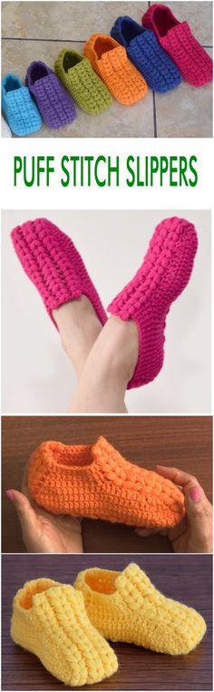 puff stitch slippers