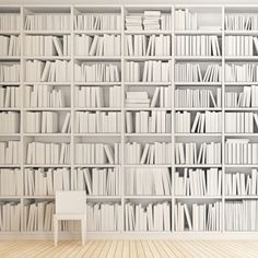 The Library Wall Mural Is A Modern Bookshelf Black And White Design Has Look With Blank Titles Measures X When Assembled
