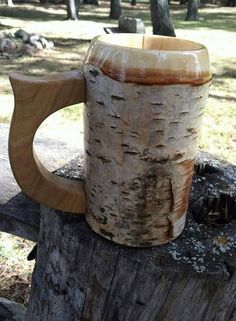 Check out this item in my Etsy shop https://www.etsy.com/listing/227159167/wooden-beer-mug-beer-stein-sca-tankard