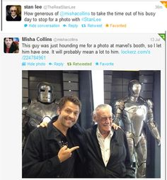 This made my morning! Misha Collins and Stan Lee