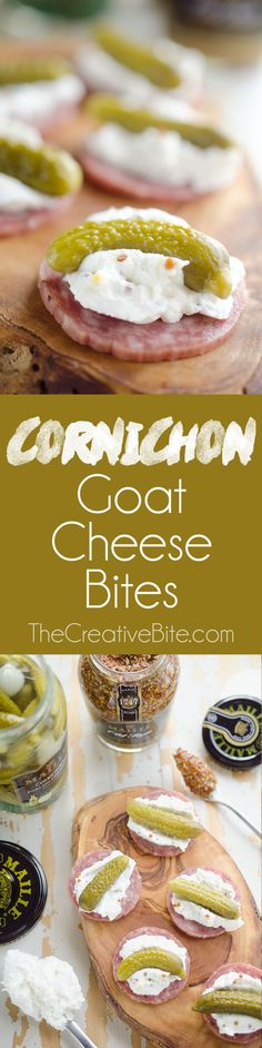 Cornichon Goat Cheese Bites are a simple and elegant finger food with goat cheese, salami and whipped goat cheese that are perfect for holiday parties! #GoatCheese #Pickles #FingerFood