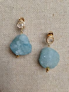 Clear Stud Earring with Natural Blue Druzy Dangle by Goldenstrand Jewelry, www.goldenstrandjewelry.com