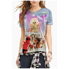3D Extraterrestrial Cat&People Print Round Neck Tee ($23) ❤ liked on Polyvore featuring tops, t-shirts, print tees, cat tee, graphic print t shirts, cotton t shirt and animal print tops