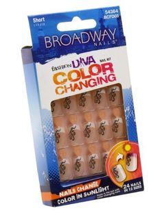 Broadway Fashion Diva Color Changing Nail Kit Short Length # 54364 BCFD03 by Kiss. $1.51. Comes with pink gel glue 2 g and manicure stick.. 24 nails in 12 sizes.. Short length.. Nails change color in sunlight!. Glue on nails.. Hard to find item!. Save 78%!